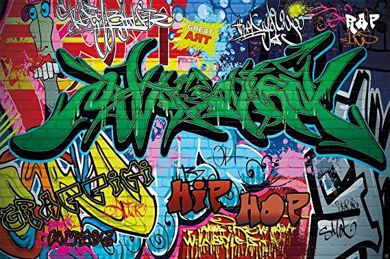 Poster Graffiti Sul Muro Decorazione Disegni Colorati Lettere Pop