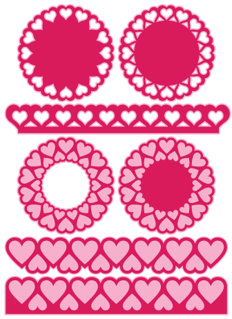 Free Designs Cut Files Hearts Set Birdscards Com Heart Doily