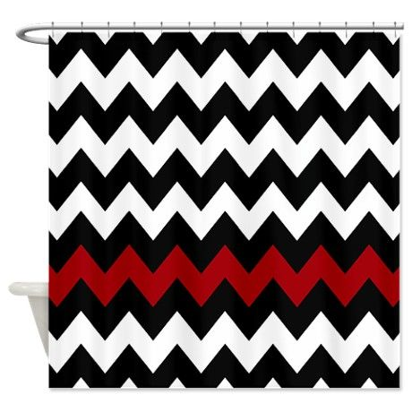 Incroyable Bathroom Accessories: Black And Red Chevron Shower Curtain