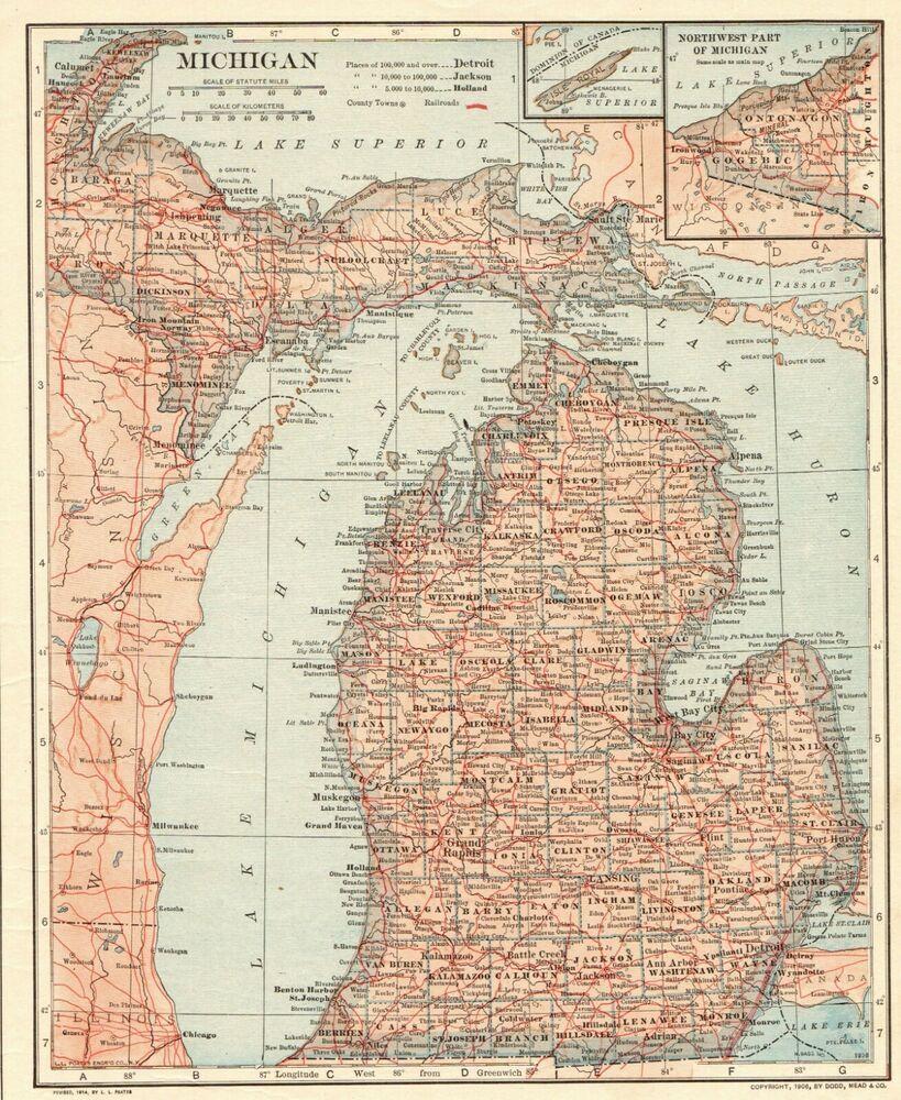 Michigan State Map Gallery Wall Art
