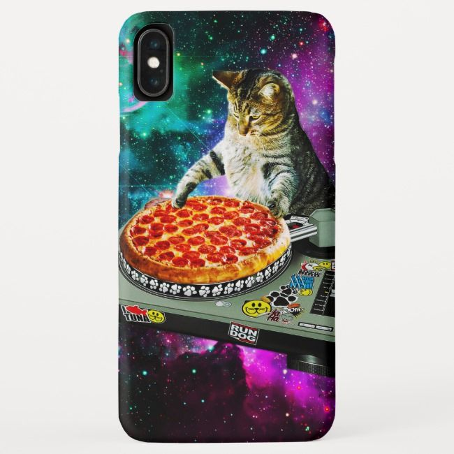 Space dj cat pizza iPhone XS max case