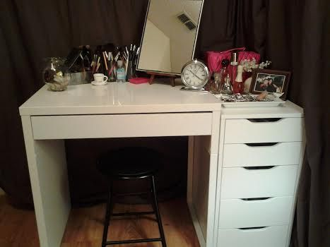 Love My New Vanity Ikea S Micke And 5 Drawer Alex Beauty Room Vanity Vanity Inspiration Vanity Room