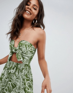 5a95458c0d5 ASOS DESIGN Tall midi sundress with tie front in palm print
