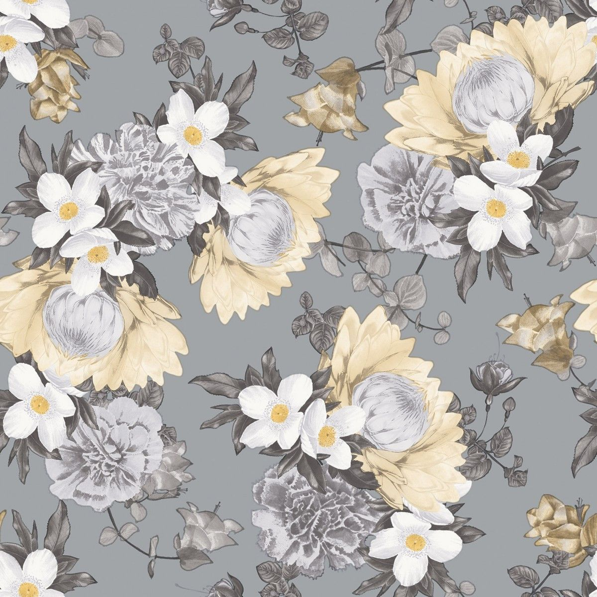 Botanical Self Adhesive Wallpaper in Pale Yellow design by