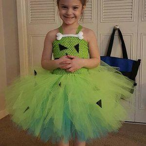 Pebbles costume, Flintstones tutu, pebbles tutu, flinstones costume, bam bam costume, caveman costume, green costume, 3D bone #pebblesandbambamcostumes