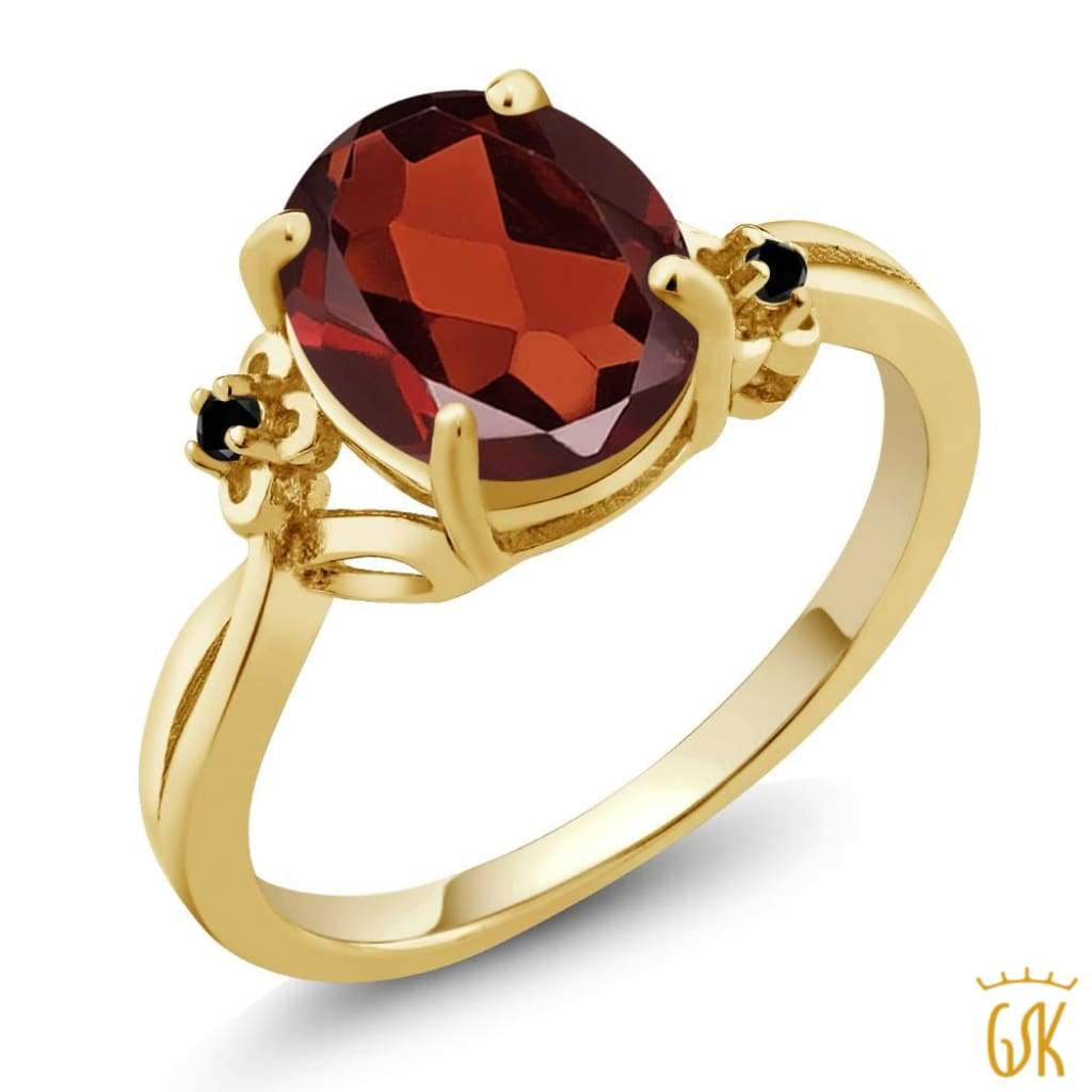 14Kt Yellow Gold Plated 1.5 Ct Garnet Oval Design Silver Ring