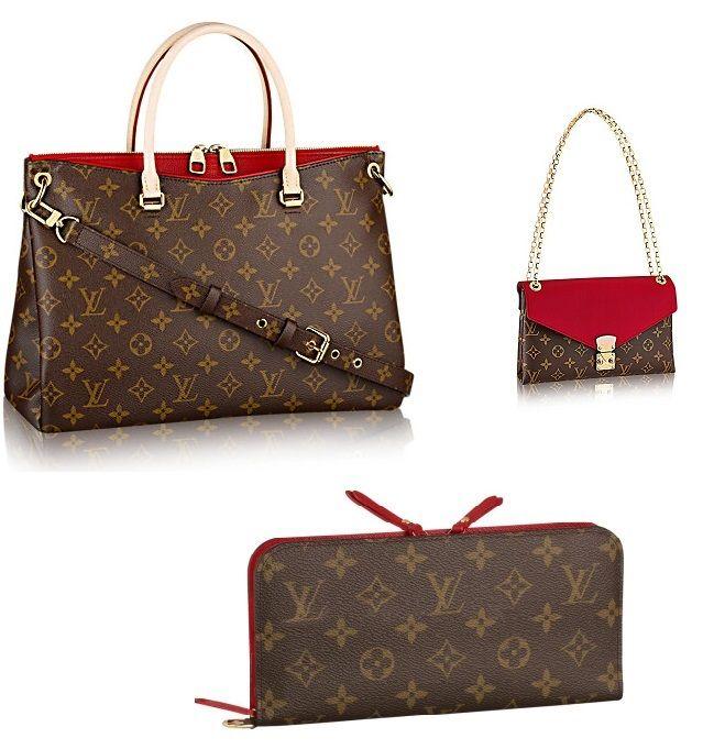 1374d2bedd33 Louis Vuitton Pallas Monogram Canvas M41175 CERISE Tote   M42120 Handbag    Wallet A set