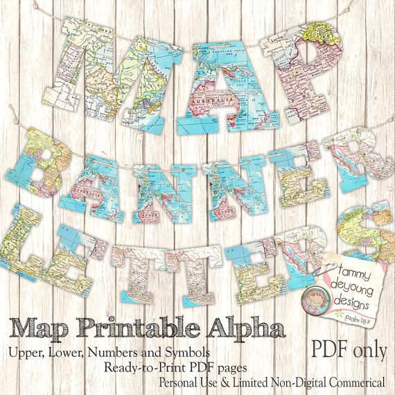 Map Banner Garland Printable, World Map Alphabet, Letters