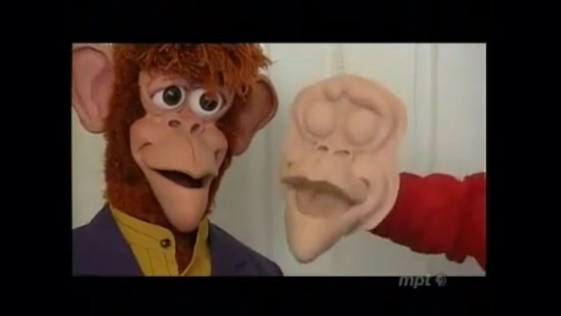 He also uses latex rubber, which he used for a character named Kaz (left).