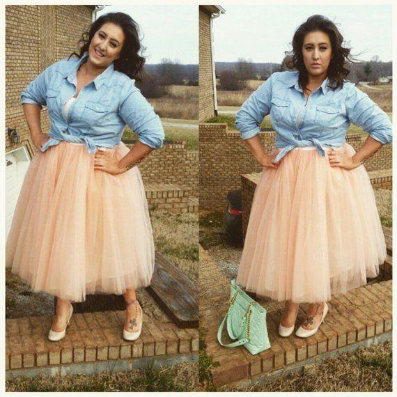 587c304010 PLUS SIZE Clarisa Tulle Skirt, Tea Length Tutu, Blush Tulle Skirt, Adult  Tulle Skirt, Wedding Tulle