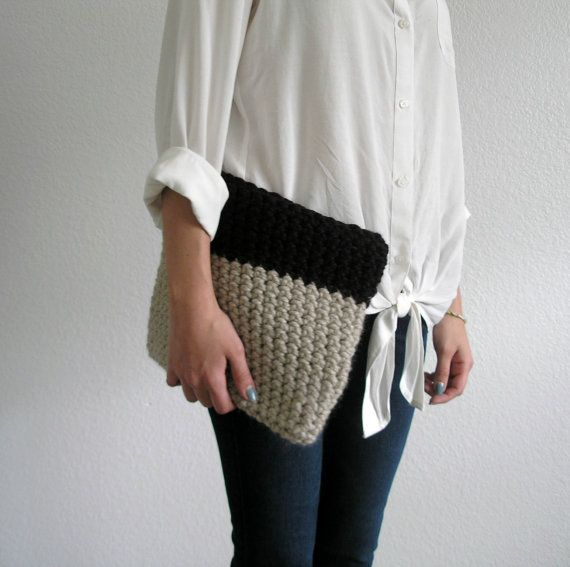 Crochet Clutch  The Colmar Clutch  Linen & Eggplant by deroucheau,