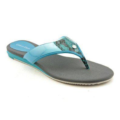 2dcfaacf16d2 Calvin Klein Haleigh Womens Size 6.5 Blue Open Toe Flip Flops Sandals Shoes  Calvin Klein.  19.99
