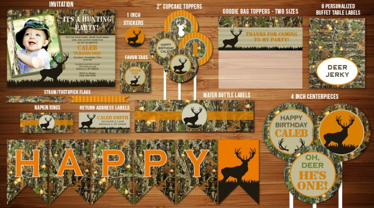 Printable Hunting Birthday Party Package Camouflage 21