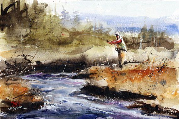 Meadow Stream Watercolor Fishing Print By Dean Crouser