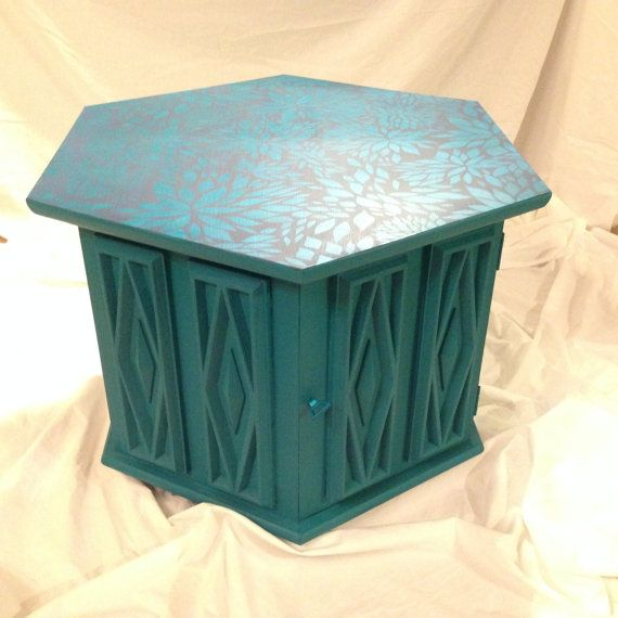 SOLDVintage turquoise 1970s hexagon end table with storage