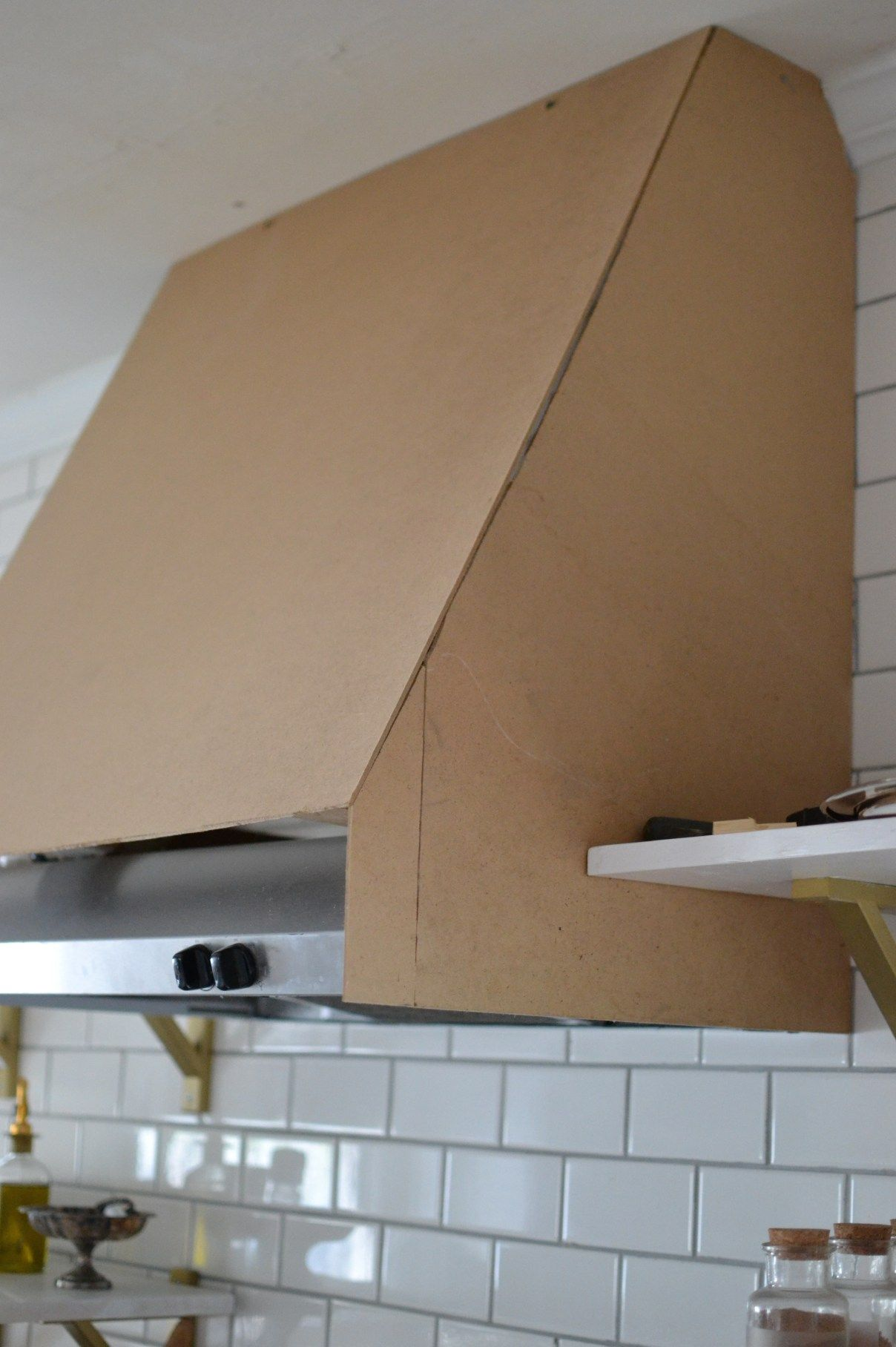 DIY Range Hood Cover | kitchen vent Hood with shelving | Pinterest ...