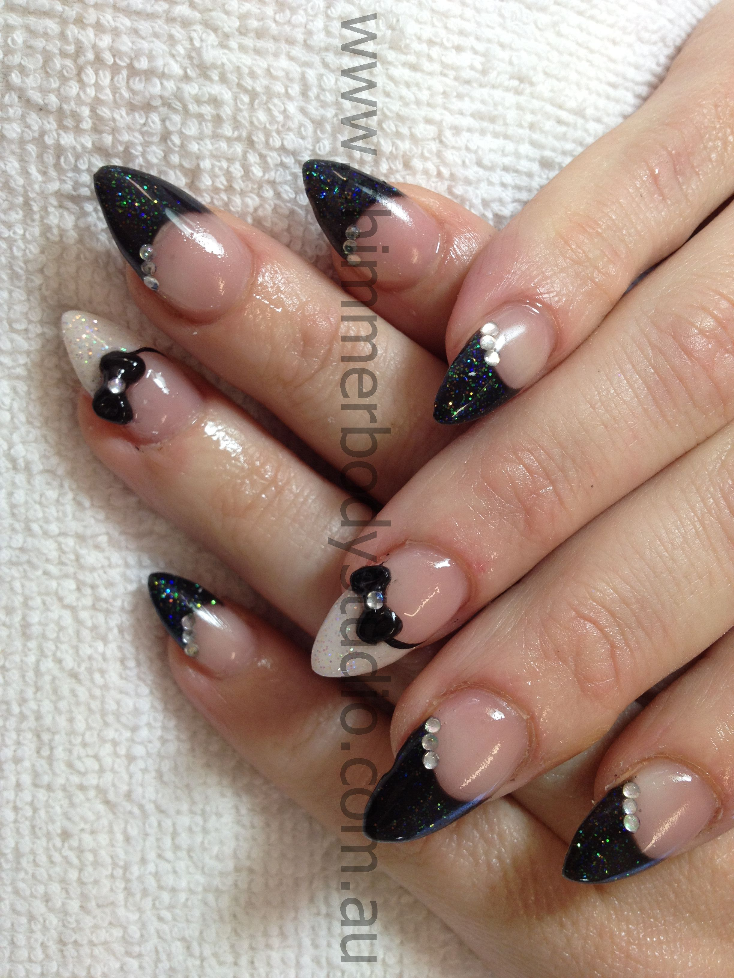 Gel nails, black and white nails, glitter nail art, 3d sculpted nail ...