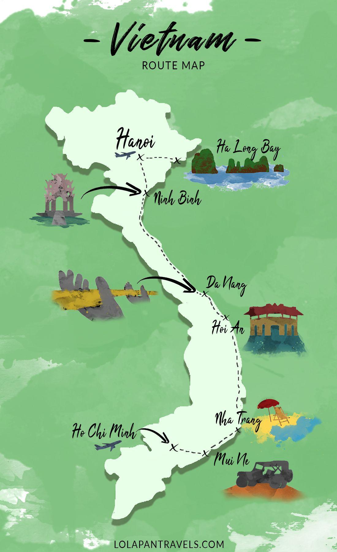 Vietnam Route Map! #travelguide #vietnam #map #routemap #vietnammap #backpackingthailand