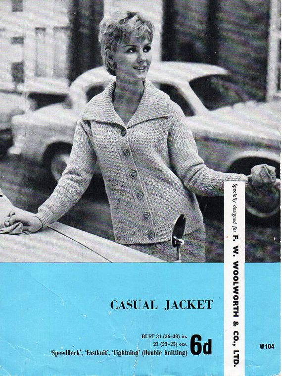 vintage womens jacket knitting pattern PDF ladies ribbed cardigan ...