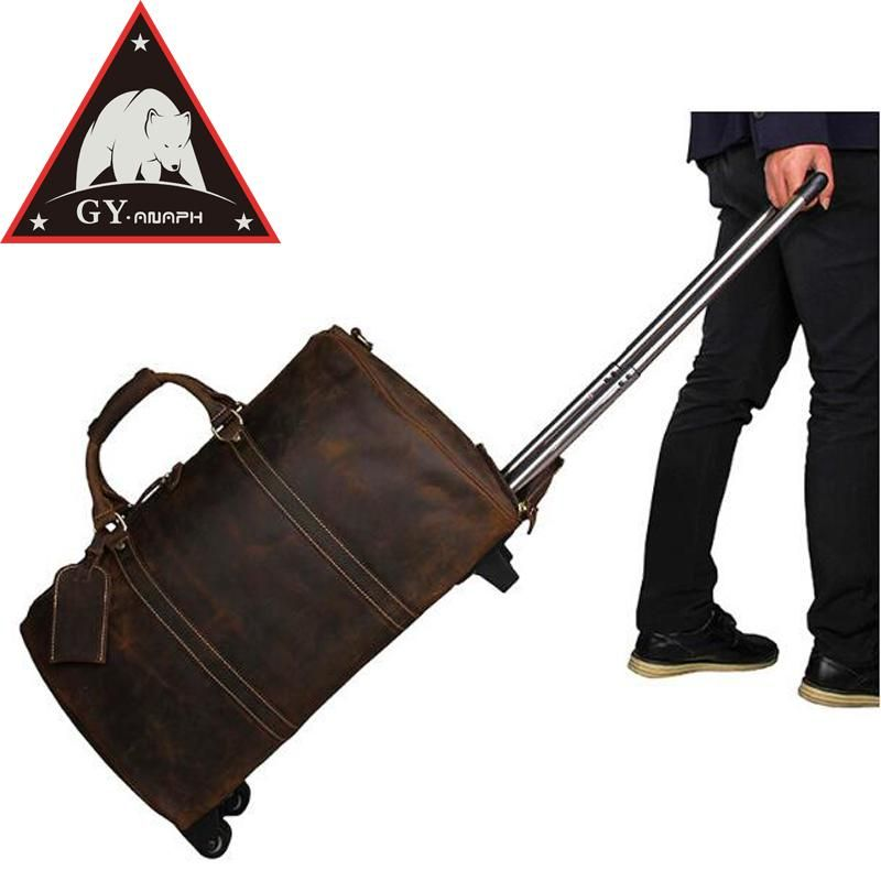 c2fbd8f3d6cb ANAPH Unisex Rolling Suitcase  Crazy Horse Leather Carry On Luggage   Overnight Travel Wheeled Duffle Bag  21 Inch Reise Koffer.