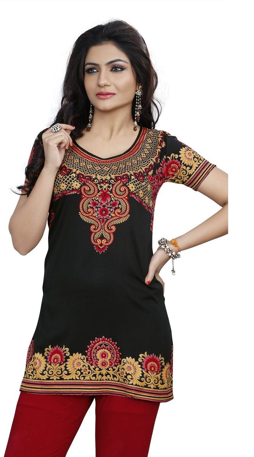bf36ed09a26 Amazon.com  Indian Tunic Top Womens Kurti Printed Blouse India Clothing -  41 Designs!  Clothing