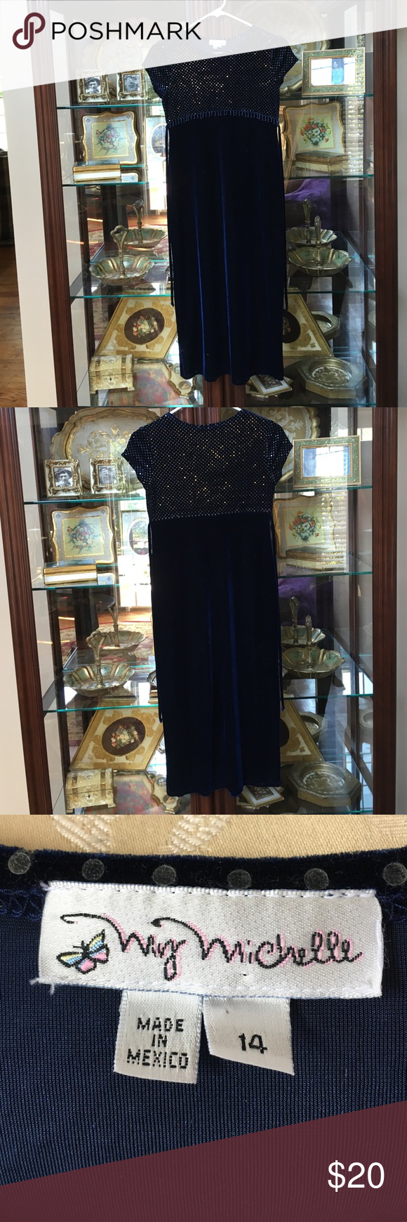 NAVY 🌟beautiful🌟MY MICHELLE Girl's DRESS Size 14 Beautiful! My Michelle Dresses Formal