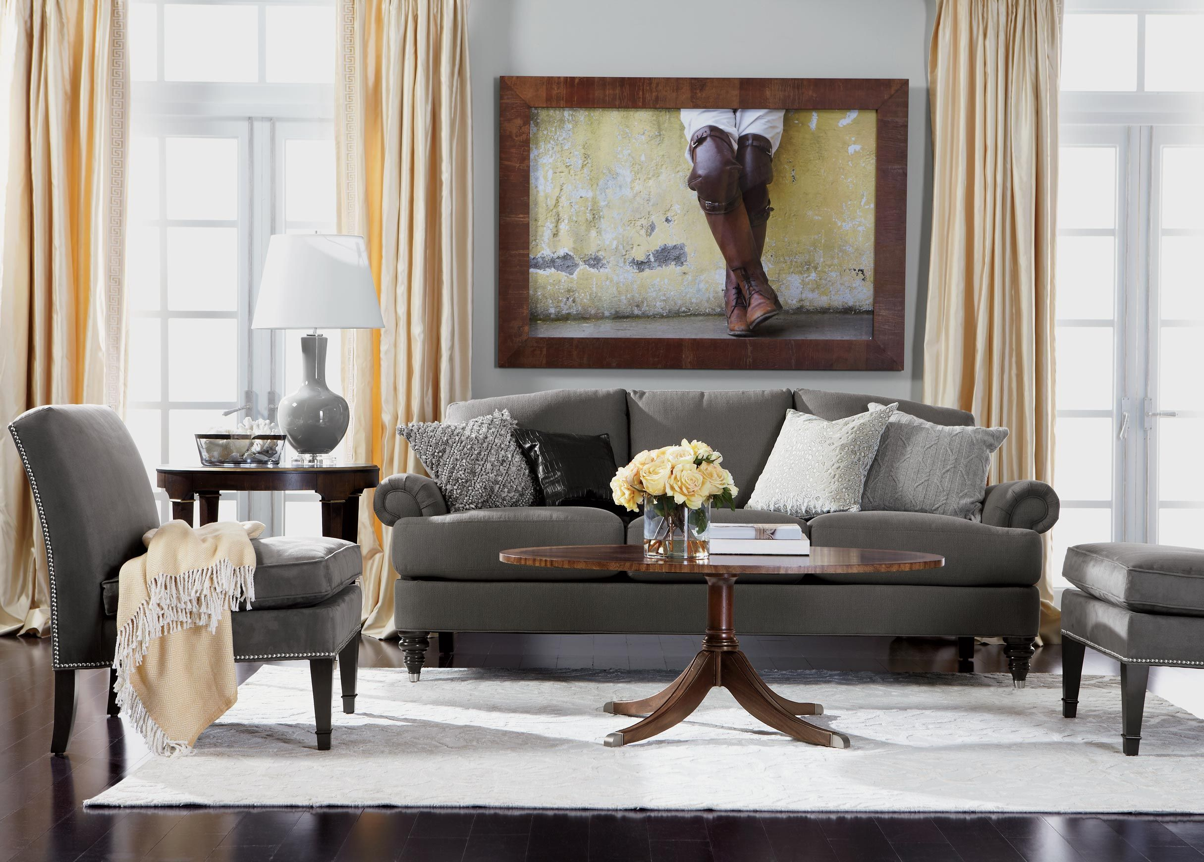 Easy Elegance Living Room Ethan Allen L Grey Couch L Dark Floors