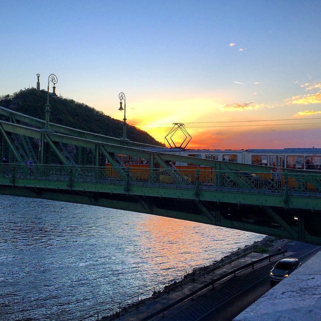 Citadella tram bridge river rakpart car #budapest #sunset #danube by brankru