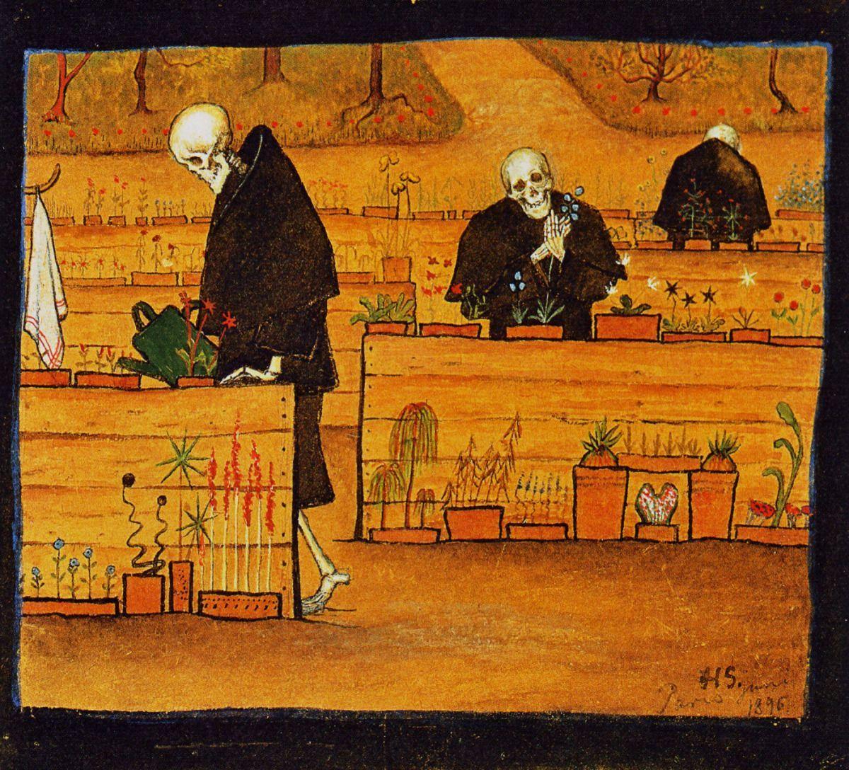 """Kuoleman puutarha - Hugo Simberg, 1896  """"Puutarha on paikka, jossa kuolema saa toteuttaa hellyyden tunteitaan"""""""