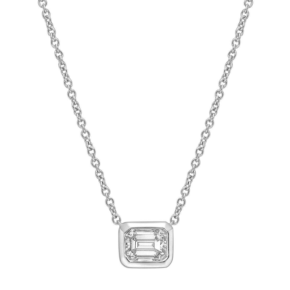 Bezel-Set Emerald-Cut Diamond Solitaire Pendant | Betteridge