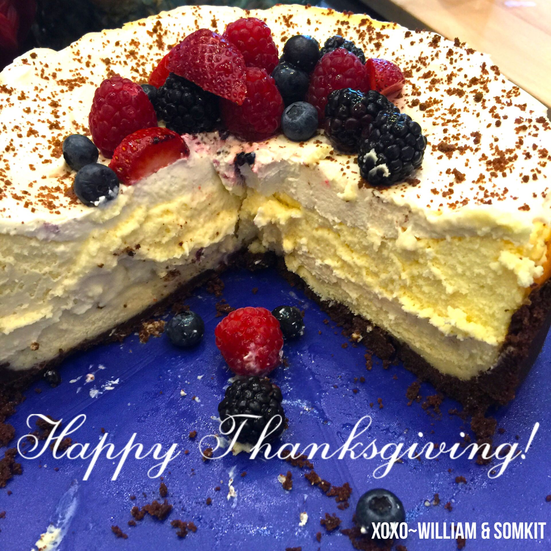 This was a homemade gift to me from Paula Odom! The turkey was not even cut yet- but we decided to try the cheesecake first! - it was worth it!