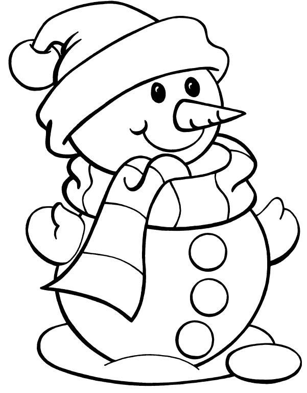christmas color page snowman snowman wearing hat christmas coloring pages wi - Simple Christmas Coloring Pages