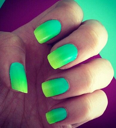 Lime Green To Light Blue Ombre Nails Green Nails Neon Nails
