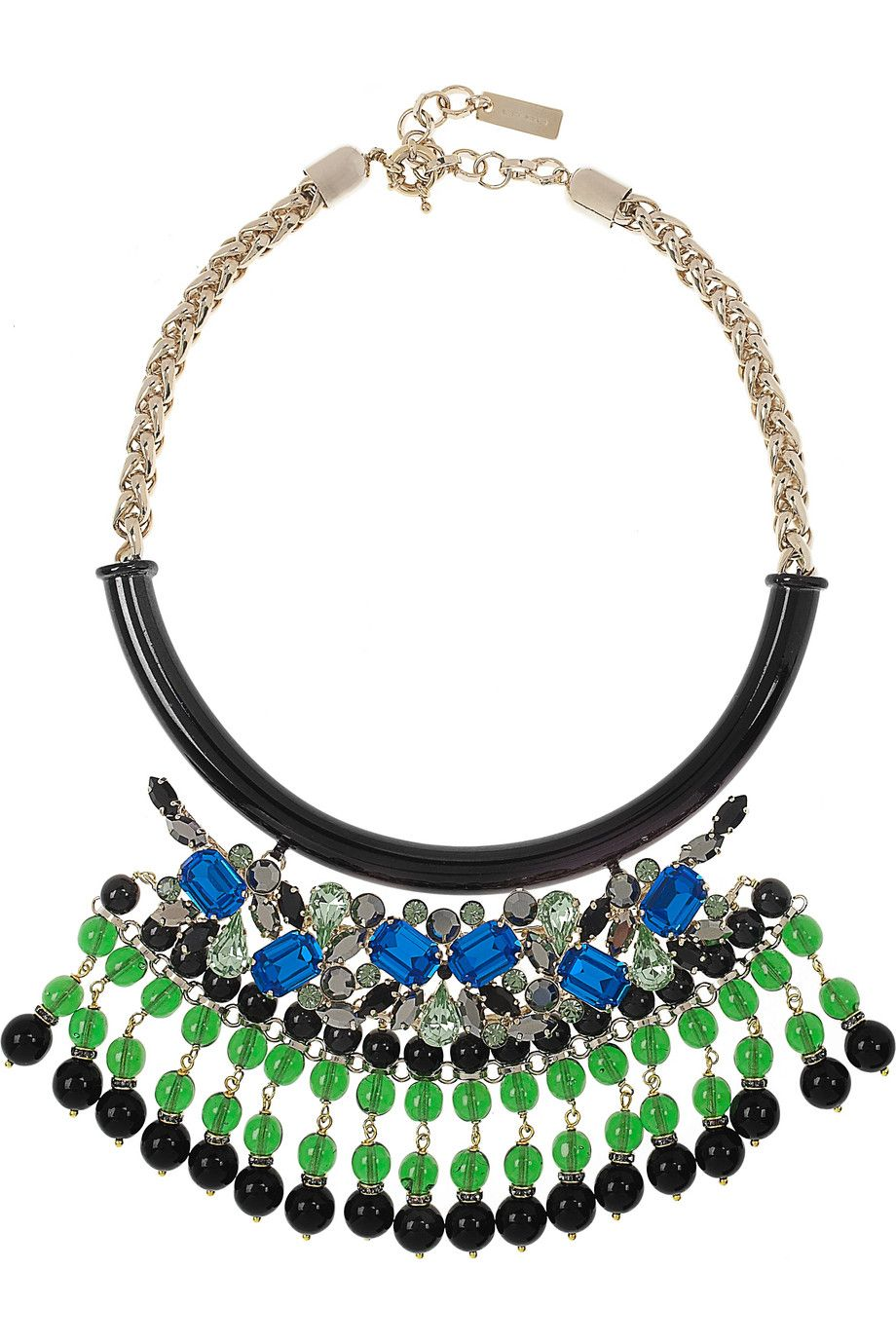 #Etro | Crystal and bead-embellished gold-plated #necklace