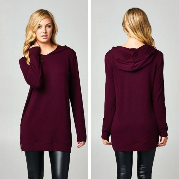 Hooded Burgundy Tunic with Side Zipper Detail - Sm to Lg - $35. WE LOVE HOODS! All clothing is 15% off now through Sunday! Come shop. Join us for the final Holiday Shop N Stroll. We're open til 8:30 and it's guys night!