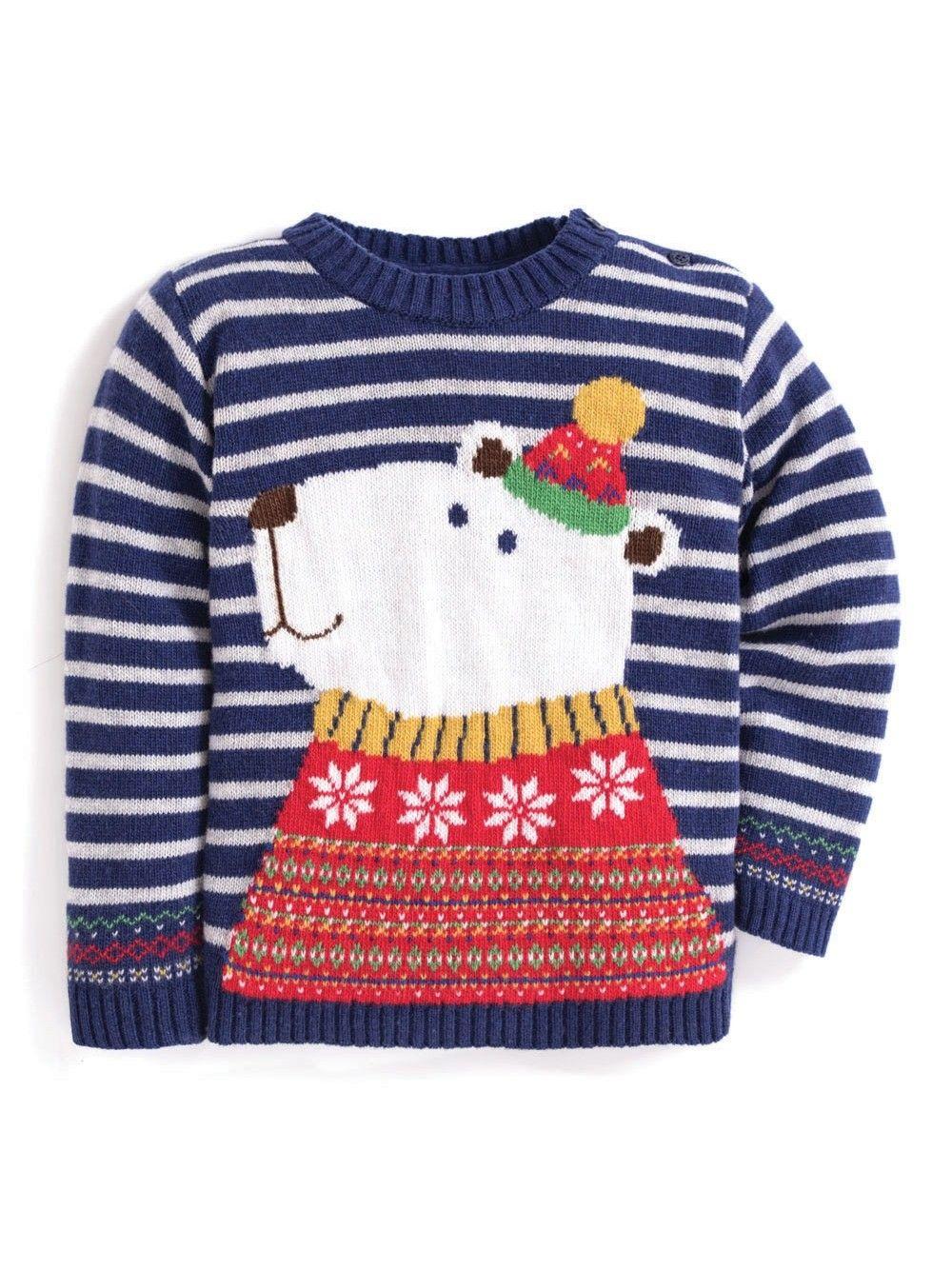 Jojo Christmas Sweater.Kids Polar Bear Cashmere Mix Christmas Sweater Jojo Maman