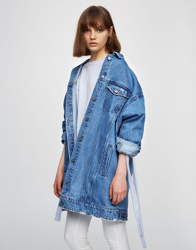 Oversize jeansjacke mit rissen bestseller kleidung damen pull bear deutschland jeans - Jeansjacke damen oversize ...