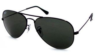 ab059ee369 RAY BAN Aviator RB 3025 L2823 58MM BLACK FRAME WITH DARK GREEN 100% UV  PROTECTION SUNGLASSES