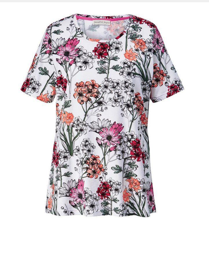 Janet Und Joyce By Happy Size Shirt Mit Blumen-print Grau