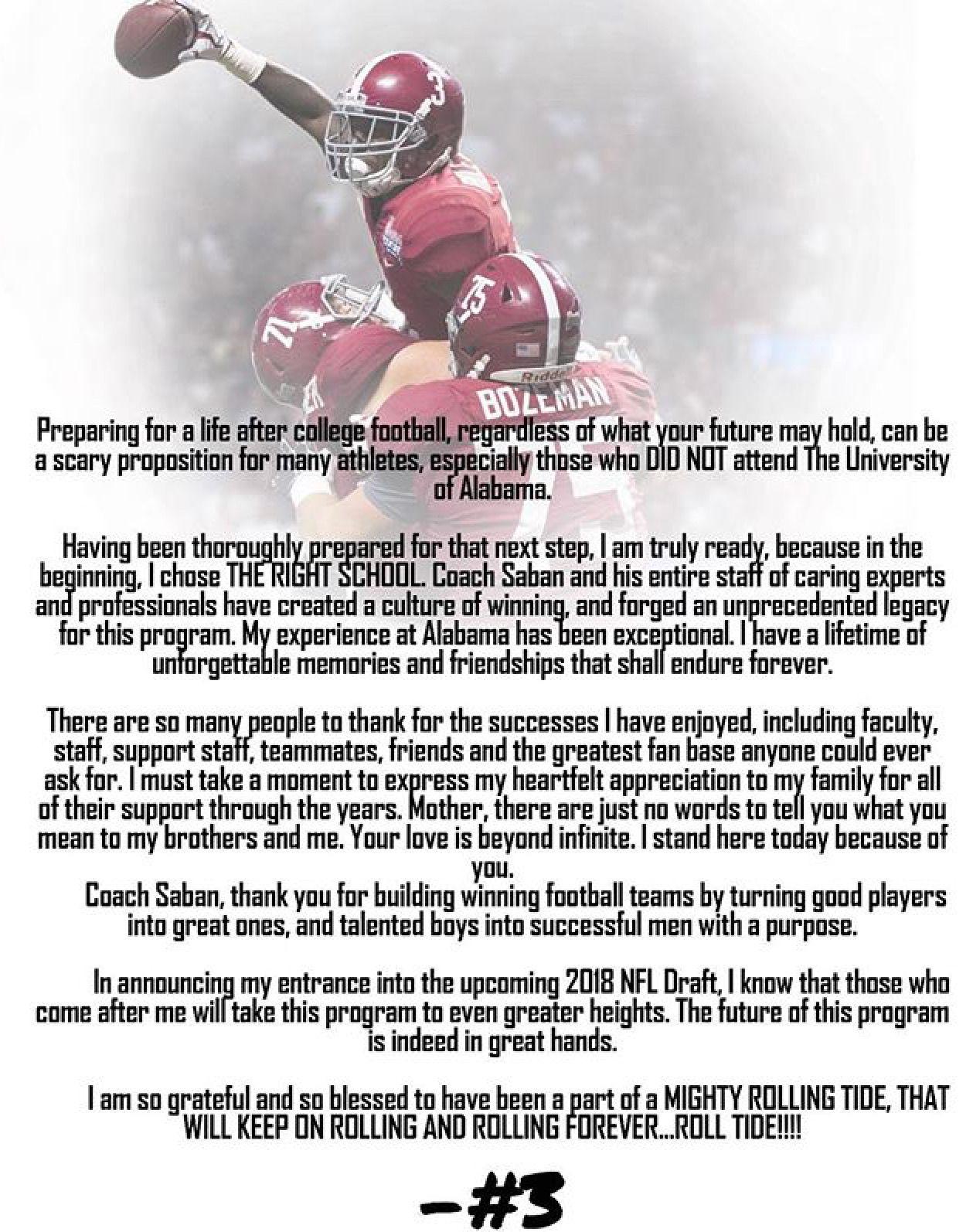 Calvin Ridley Letter To Alabama Declaring For The Nfl Draft Alabama Rolltide Bama Builtbybama R Crimson Tide Football Alabama Crimson Tide Crimson Tide