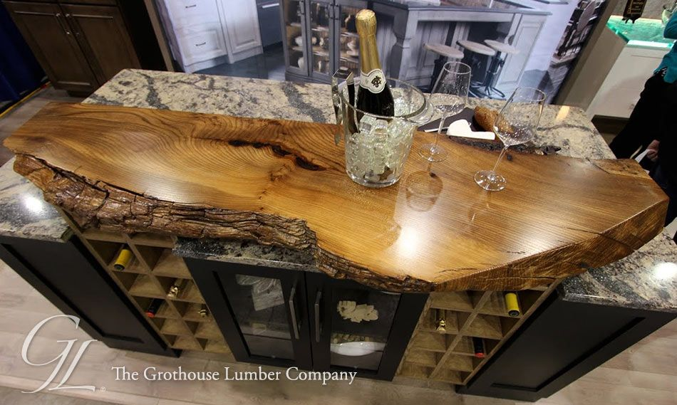 Live Edge Custom English Wych Elm Wood Countertop In Medina, Ohio Designed  For A Display At The Home And Garden Show, Finished With Durata® Waterproof  ...