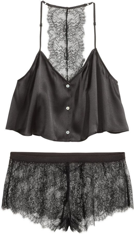879b6d8edc H&M - Pajamas in Silk and Lace - Black - Ladies | Lacey things em ...