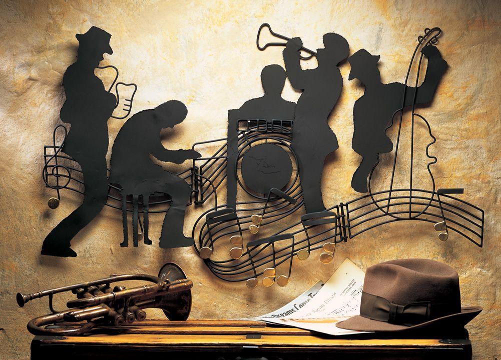 Jazzin Quintet Music Theme Metal Hanging Wall Art Jazz Blues Home Decor New Jazz Wall Art Music Metal Wall Art Music Wall Art