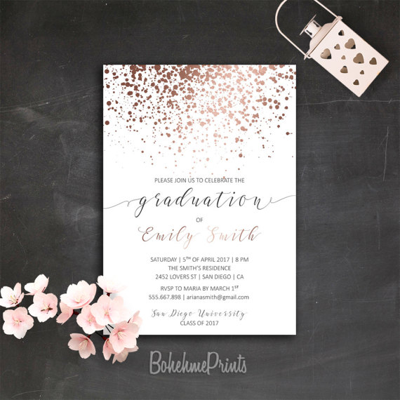 Rose gold graduation party invitation printable college grad rose gold graduation party invitation printable by bohemeprints rosegold invitation graduation graduationparty stopboris Gallery