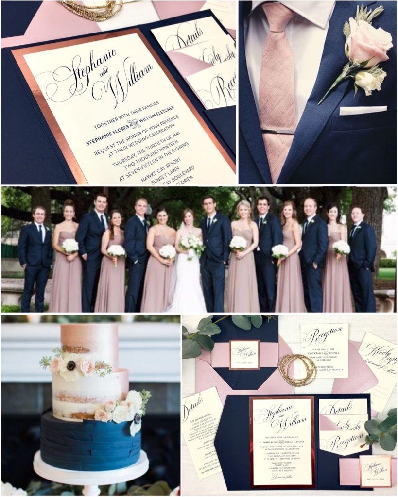 Navy Mauve And Rose Gold Foil Pocket Wedding Invitations By Inspiration I Do Wedding Rose Gold Theme Navy Gold Wedding Navy Wedding Centerpieces