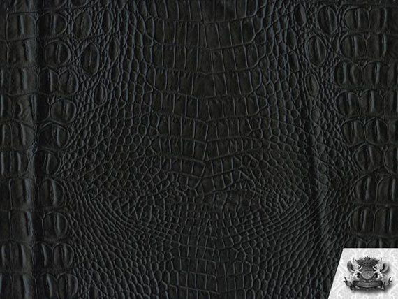 Vinyl Crocodile Crock Matte Black Fake Leather Upholstery Fabric 54 Wide Sold By The Yard