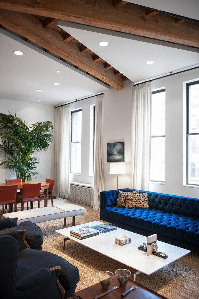 Sofa Chesterfield Blue Living Room Stay Open Plan Timber Blue Living Room Interior Furniture Design