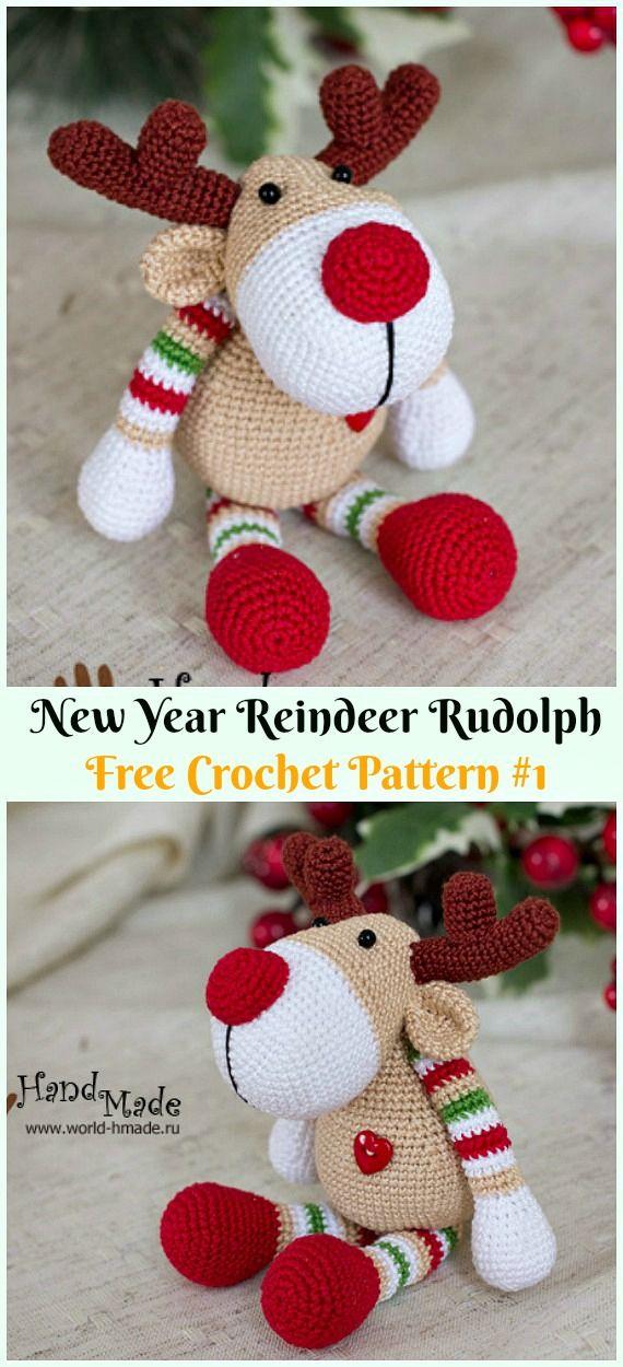 Amigurumi New YearReindeer Rudolph Crochet Free Pattern - Crochet #Amigurumi; #Reindeer; Toy Softies Free Patterns