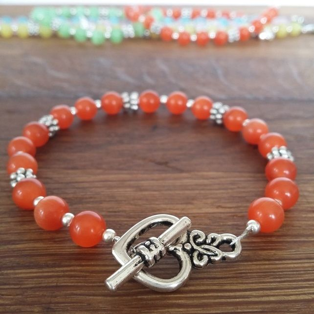 Orange cats eye toggle clasp bracelet £4.50