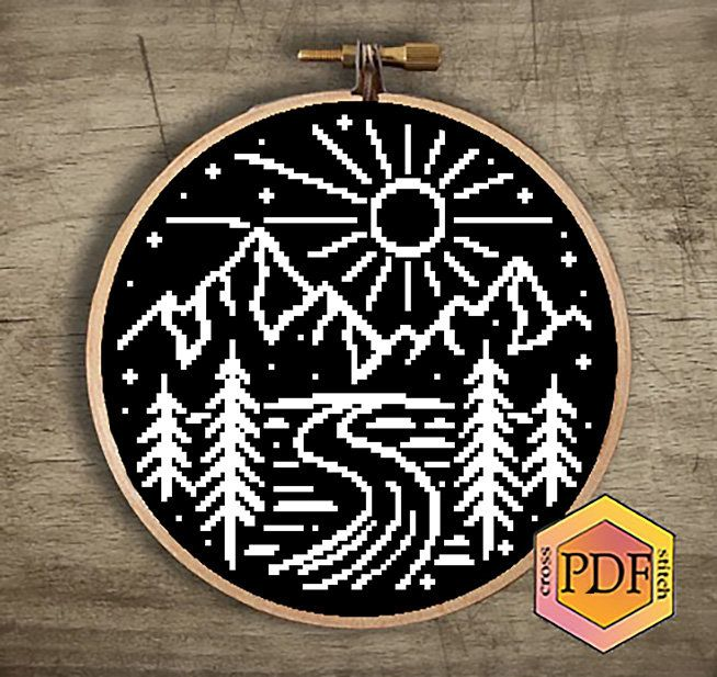 Photo of Adventure Modern Cross Stitch Pattern PDF Mountains Counted Cross Stitch Chart Nature Landscape Forest Hoop Embroidery Instant Download PDF